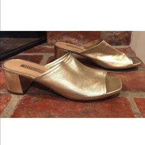 TOPSHOP Nino Mules heels Gold size 7.5